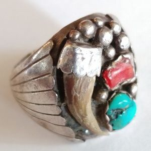 Other - Vintage Navajo Bear Claw Turquoise Coral Ring